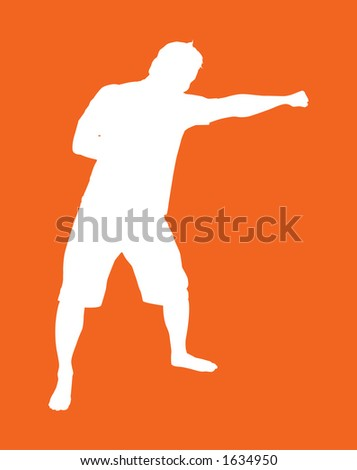 Fighter silhouette with a south paw knuckle sandwich.  CLIPPING PATHS INCLUDED - stock photo