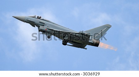 fighter take off with afterburner - stock photo