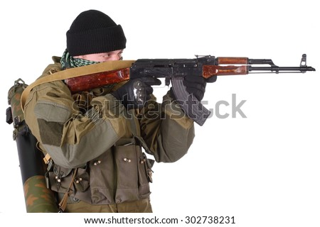 fighter with ak-47 rifle with kalashnikov rifle isolated on white background