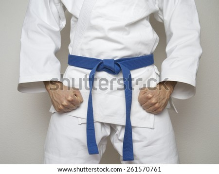 Fighter with blue belt martial arts - stock photo
