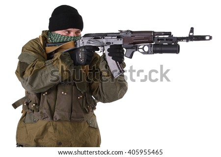 fighter with kalashnikov  ak-47 rifle with under-barrel grenade launcher isolated on white background