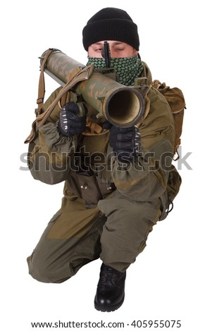 fighter with RPG rocket launcher isolated on white - stock photo