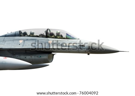 Fighterjet cockpit with two pilots isolated on white - stock photo