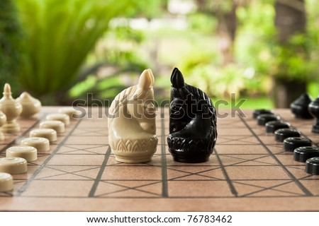 fighting between white and black knights on chess board - stock photo