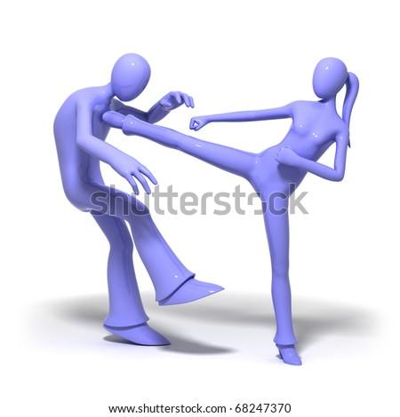 Fighting couple - stock photo