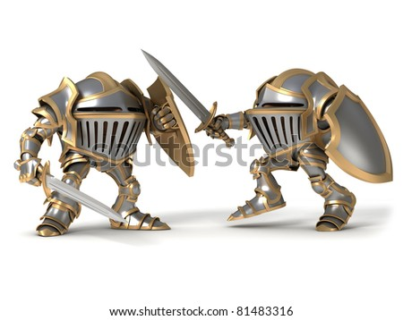 Fighting knight - stock photo