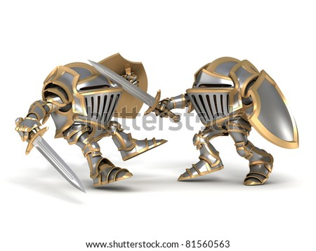 Fighting knights - stock photo