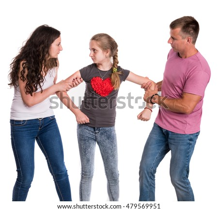 Fighting parents and daughter on a white background.  Divorce Concept