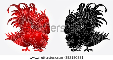 Fighting rooster black and red version  on white background