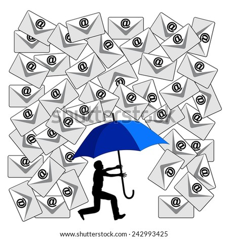 Fighting the Email Flood. Humorous concept sign of the daily flood of e-mails at the workplace or in social media - stock photo