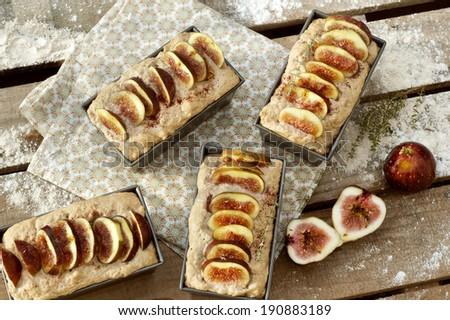figs bread preparation - stock photo