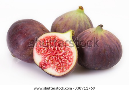 figs fruits isolated on white background - stock photo