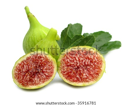 Figs ripe with leaves - stock photo