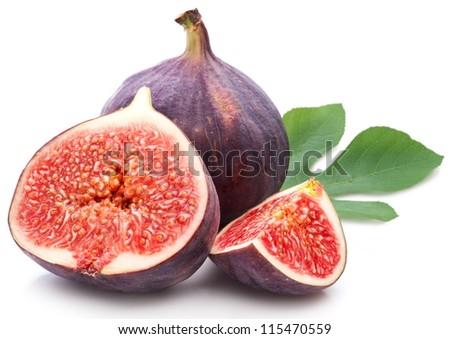 Figs with leaves on a white background. - stock photo