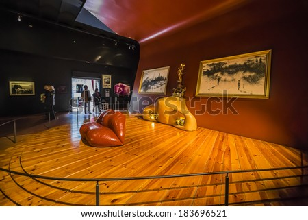 FIGUERAS, SPAIN - NOVEMBER 22, 2013: Famous Mae West room in Dali's Theatre - Museum building, opened on September 28, 1974 and housing the largest collection of works by Salvador Dali. - stock photo