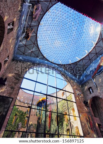 FIGUERES - APRIL 14: Dali Theatre and Museum, opened on September 28, 1974 and housing the largest collection of works by Salvador Dali on April 14, 2013 in Figueres, Catalunya, Spain - stock photo