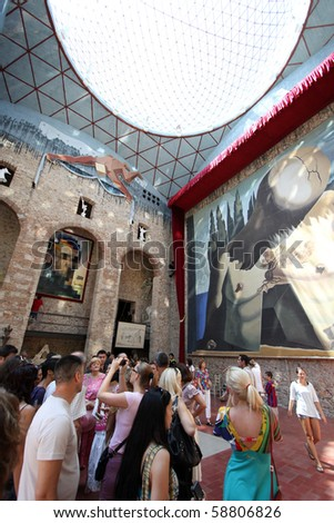 FIGUERES, SPAIN - JULY 27: Dali's bedroom in Dali Museum in Figueres, Spain at July 27, 2010. Salvador Dali is buried in a crypt in the Museum basement. - stock photo