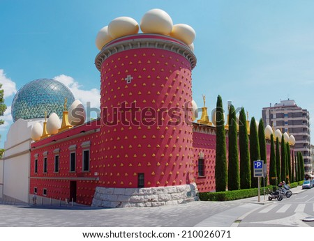 FIGUERES, SPAIN - JULY 26: The Dali Theatre and Museum  on July 26, 2014 in Figueres, Catalunia, Spain. The museum displays the largest and most diverse collection of works by Salvador Dali.  - stock photo