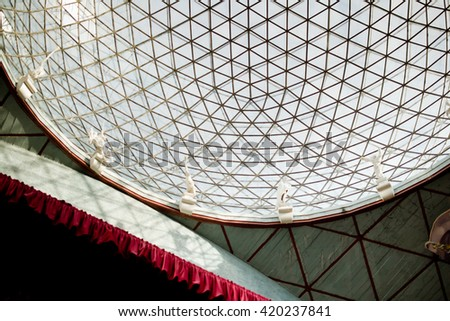 FIGUERES, SPAIN - OCTOBER 23, 2013: Skylight, reticular vaulted structure (the idea of Salvador Dali, realized by architect Pinheiro Pearce) of the Dali Theatre and Museum on October 23, 2013. - stock photo