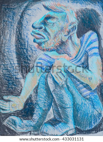 Figure crayons, beggar, poor fallen man, outstretched hand asking for milostine - stock photo