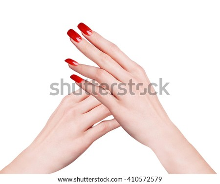 figure from female hands isolated on white - stock photo