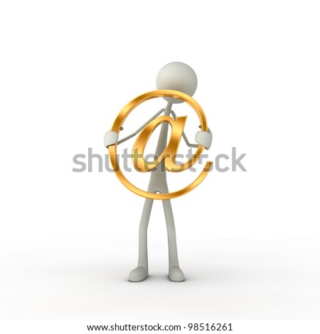 figure hold a at-symbol in his hand - gold - stock photo