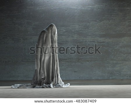 Figure hunched over under cloth 3D Render