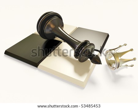 figure king on  chess board  and silver  crown isolated - stock photo
