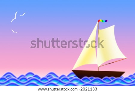 Figure of a frigate on waves and the seagull in the sky - stock photo