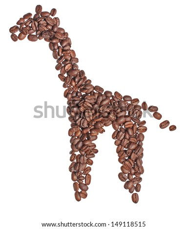 Figure of a giraffe made ??from coffee beans - stock photo
