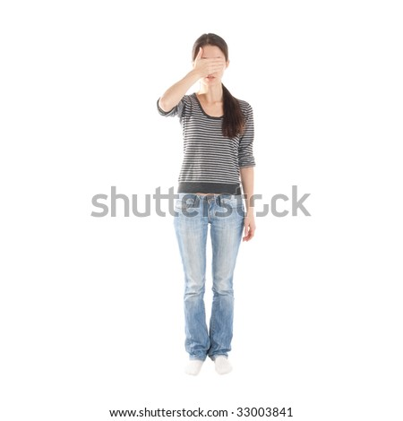 figure of a girl covering her eyes with her hand