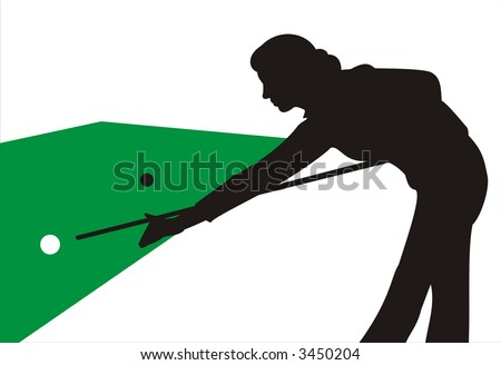 Figure of a silhouette of black color of the girl playing billiards on a table, drawn by green color. It can be used as a background or a part of a composition - stock photo