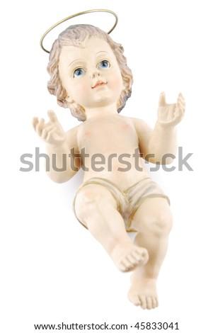 figure of baby jesus isolated on white background (isolated on black 128829406) - stock photo