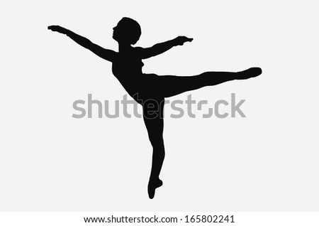 Figure of ballet in first arabesque, silhouette in black and white - stock photo