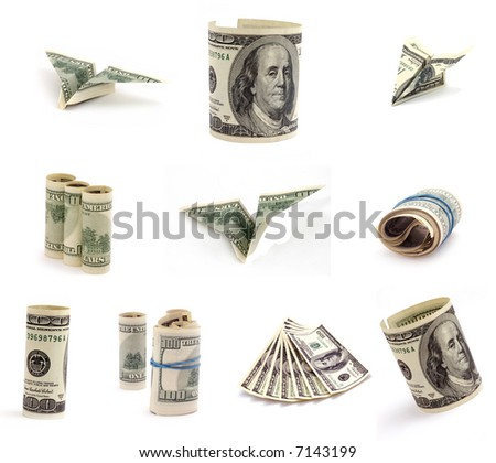 Figure of dollars on white backgrounds. - stock photo
