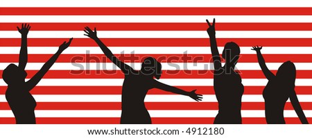 Figure of female silhouettes of black color on a background of the red and white strips simulating a flag of America