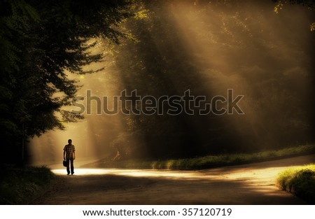Figure of man in the park in sun rays - stock photo