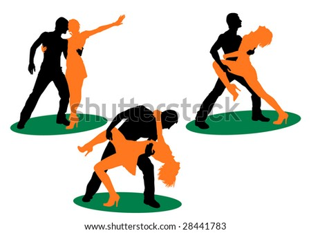 Figure of silhouettes dancing young people - stock photo