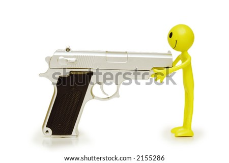 Figure of smilie commiting suicide - stock photo