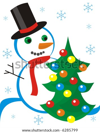 Figure of snowmen about the christmas fur-tree decorated by spheres on a white background with blue wave and snowflakes