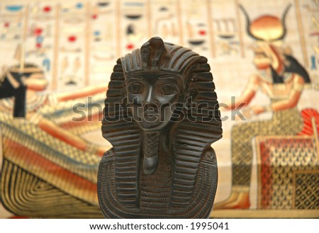 Figure of sphynx and background with elements of egyptian ancient history - stock photo