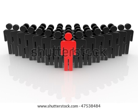 Figure of the person, the leadership concept in group of people