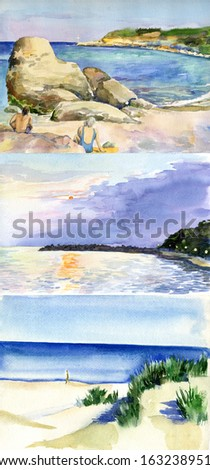 Figure seascape, Plein Air,  - stock photo