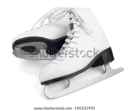 Figure skates isolated on white with clipping path - stock photo