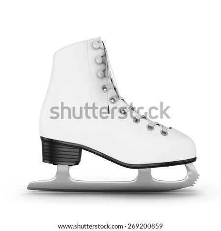 Figure skates side view on a white. 3d illustration. - stock photo