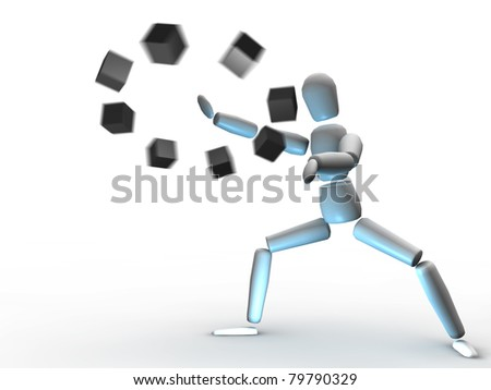 Figure using magic power, 3D render with motion blur effect - stock photo
