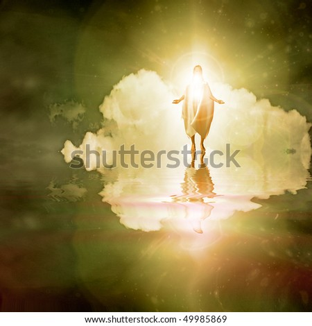 Figure walks on water - stock photo