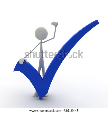 figure with a check mark hold his fist in the air - blue - stock photo
