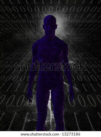 Figure with binary - stock photo