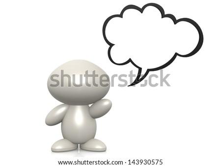 Figure with speech bubble - stock photo